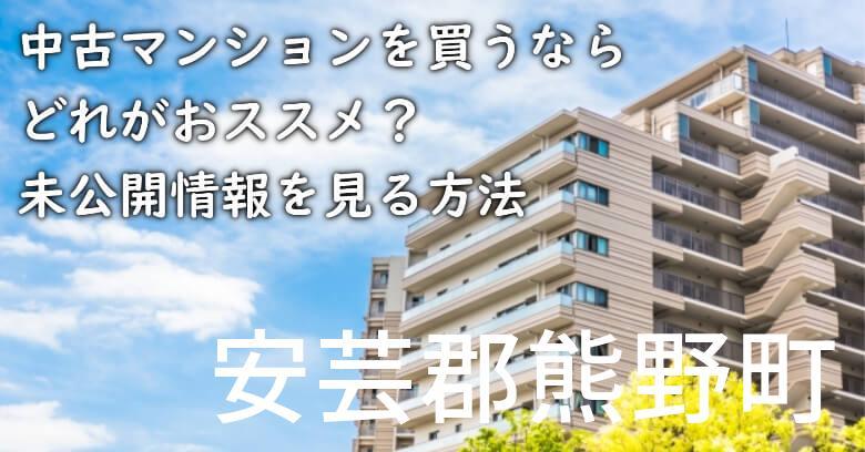 安芸郡熊野町の中古マンションを買うならどれがおススメ?掘り出し物件の探し方や未公開情報を見る方法など